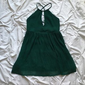 Strappy-Back Dress with Pleated Skirt